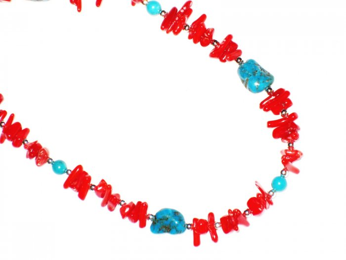 ST560       Coral and Turquoise  Sets in Sterling Silver