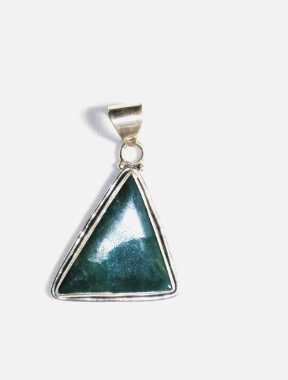PN166       Moss Agate Pendant in Sterling Silver