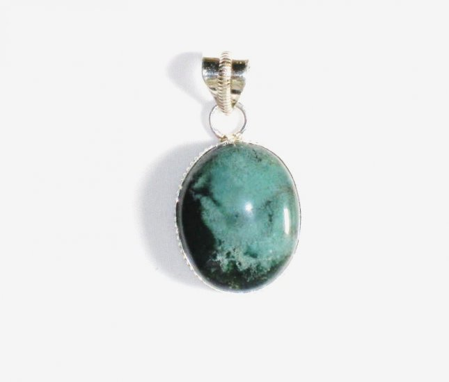 PN173       Moss Agate Pendant in Sterling Silver