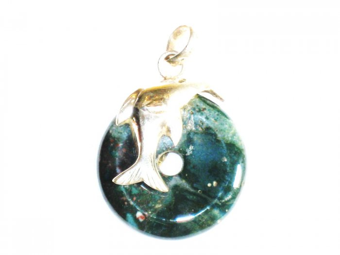 PN247       Moss Agate Pendant in Sterling Silver