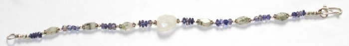 ST007       Rutilated Quartz and CZBracelet in Sterling Silver
