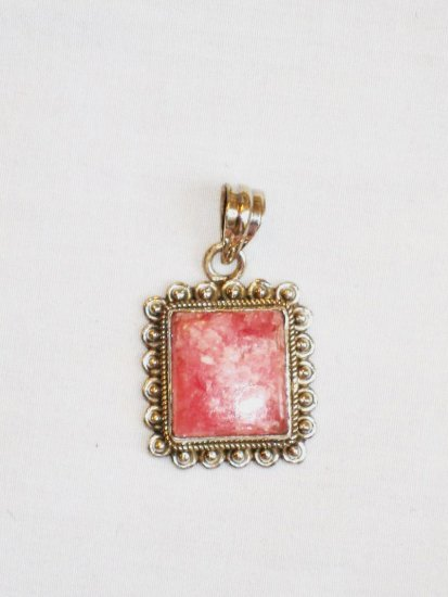 PN086       Pink Agate Pendant in Sterling Silver