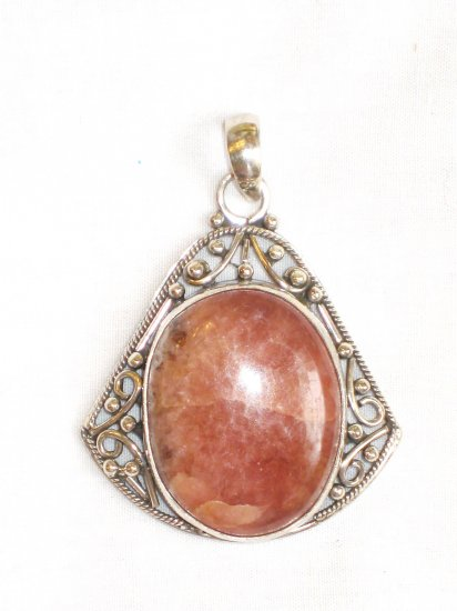 PN063       Pink Opal Pendant in Sterling Silver
