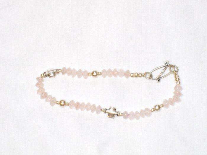 ST179       Rose Quartz Bracelet in Sterling Silver