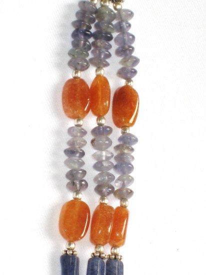ST001       Purple Jade and Carnelian Bracelet in Sterling Silver
