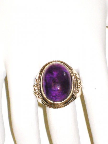RG021       Amethyst Ring in Sterling Silver - Size 8.5