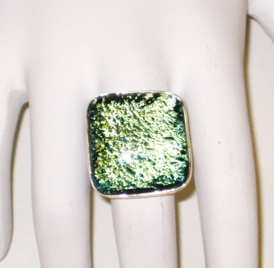RG004       Dichroic Glass Ring in Sterling Silver, Size 7