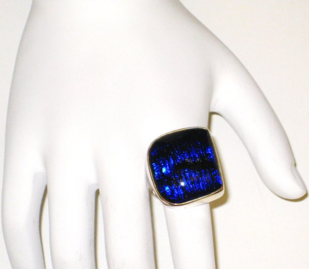 RG011       Dichroic Glass Ring in Sterling Silver, Size 6