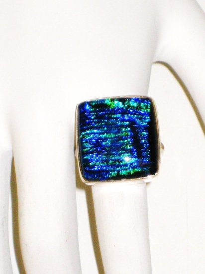 RG025       Dichroic Glass Ring in Sterling Silver, Size 7