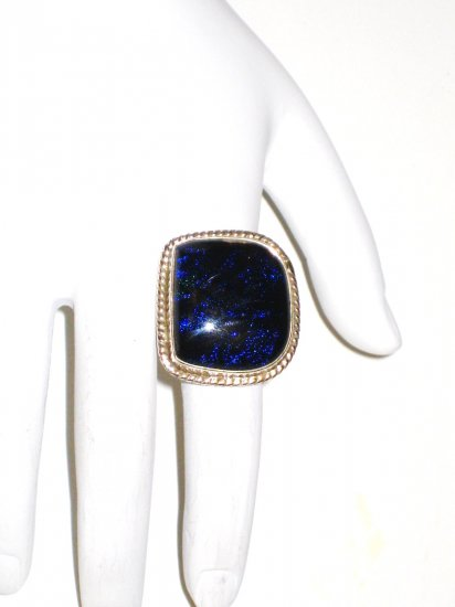 RG044       Dichroic Glass Ring in Sterling Silver, Size 6