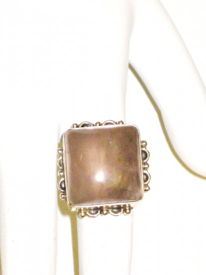 RG026       Rose Quartz Ring in Sterling Silver, Size 6