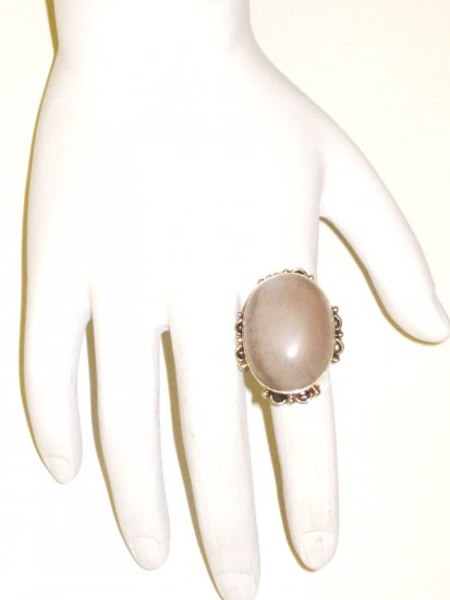 RG043       Rose Quartz Ring in Sterling Silver, Size 6