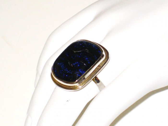 RG054       Dichroic Glass Ring in Sterling Silver