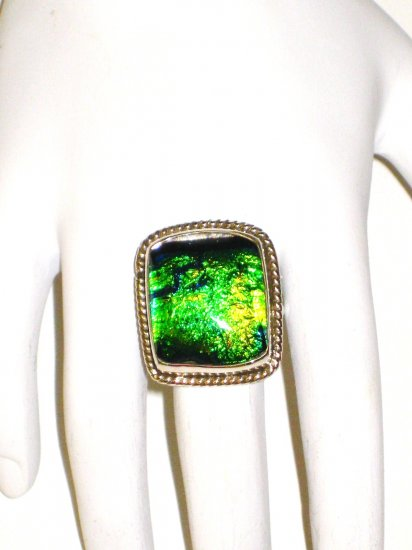RG060       Dichroic Glass Ring in Sterling Silver, Size 7