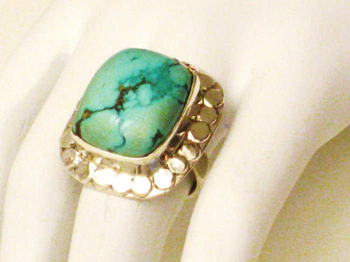 RG104       Turquoise Ring in Sterling Silver, Size 6