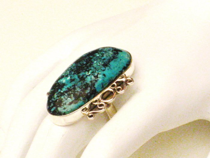RG106       Turquoise Ring in Sterling Silver, Size 7