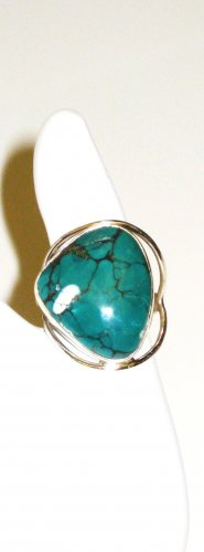 RG110       Turquoise Ring in Sterling Silver, Size 7