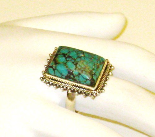 RG135       Turquoise Ring in Sterling Silver, Size 7