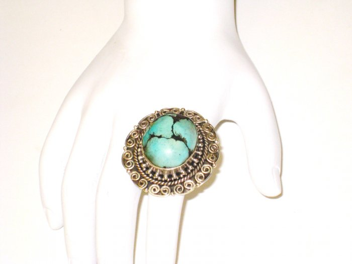 RG065       Turquoise Ring in Sterling Silver, Size 8