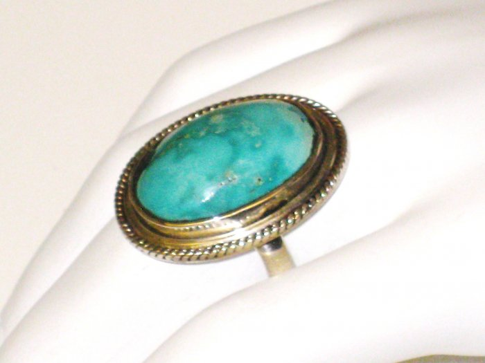 RG089       Turquoise Ring in Sterling Silver, Size 8