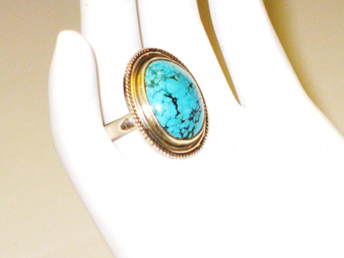 RG092       Turquoise Ring in Sterling Silver, Size 8