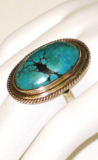 RG095       Turquoise Ring in Sterling Silver, Size 8