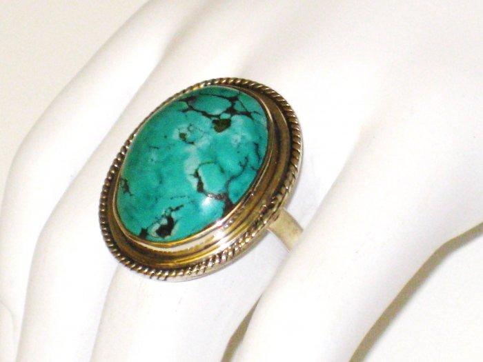 RG097       Turquoise Ring in Sterling Silver, Size 8