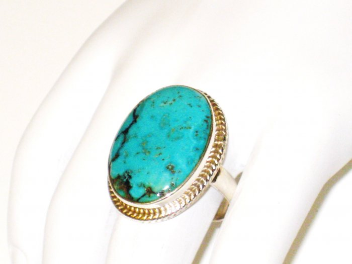 RG109       Turquoise Ring in Sterling Silver, Size 8