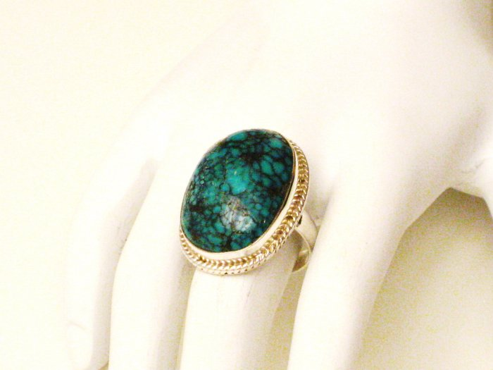 RG116       Turquoise Ring in Sterling Silver, Size 8