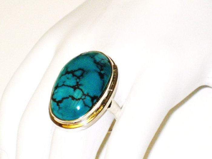 RG125       Turquoise Ring in Sterling Silver, Size 8