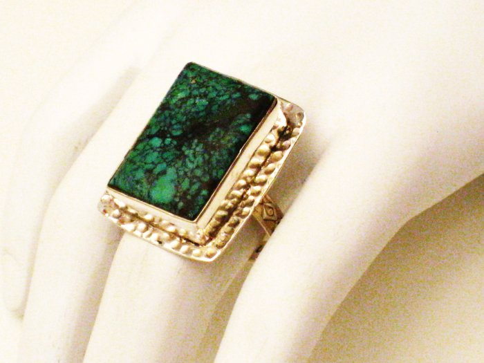RG126       Turquoise Ring in Sterling Silver, Size 8