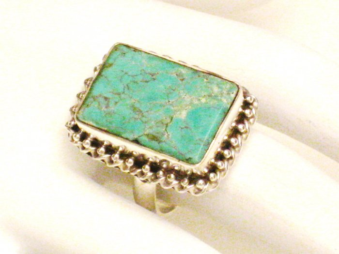 RG130       Turquoise Ring in Sterling Silver, Size 8