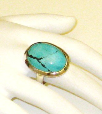 RG136       Turquoise Ring in Sterling Silver, Size 8