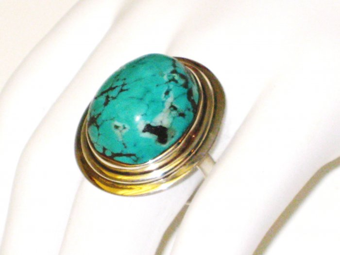 RG096       Turquoise Ring in Sterling Silver, Size 9