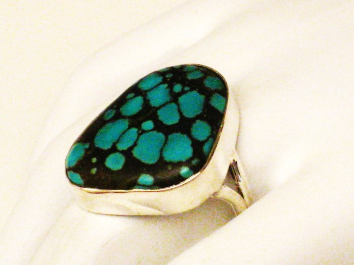 RG129       Turquoise Ring in Sterling Silver, Size 9