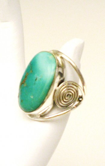 RG140       Turquoise Ring in Sterling Silver, Size 7