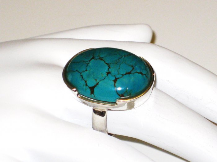 RG141       Turquoise Ring in Sterling Silver, Size 7
