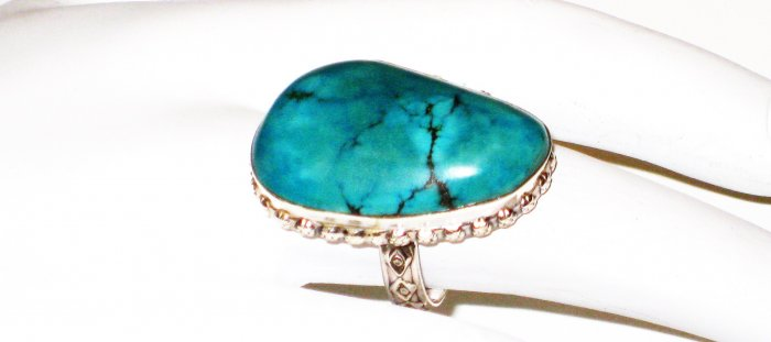 RG142       Turquoise Ring in Sterling Silver, Size 7