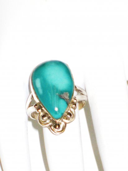 RG145       Turquoise Ring in Sterling Silver, Size 7