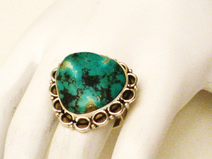 RG155       Turquoise Ring in Sterling Silver, Size 7