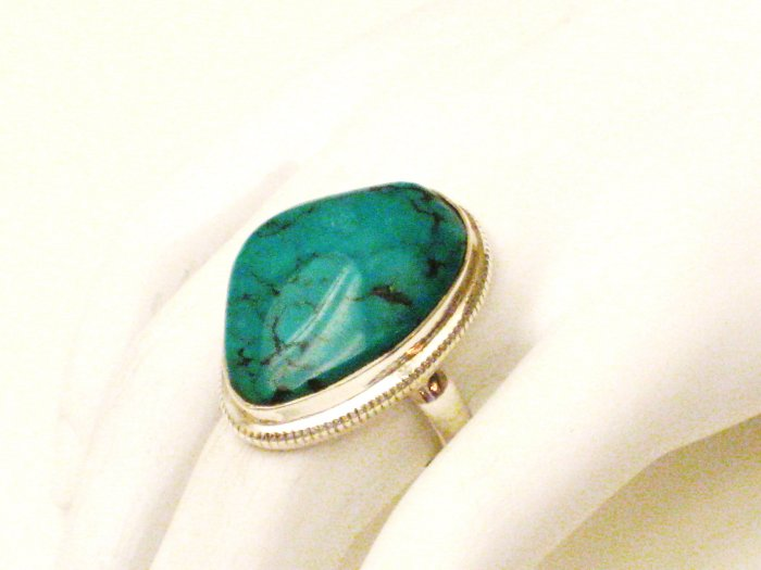 RG161       Turquoise Ring in Sterling Silver, Size 7