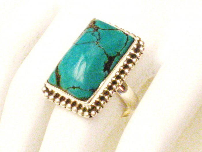 RG168       Turquoise Ring in Sterling Silver, Size 7