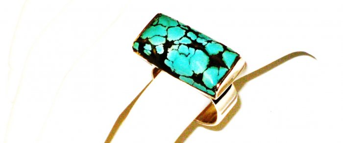 RG175       Turquoise Ring in Sterling Silver, Size 7