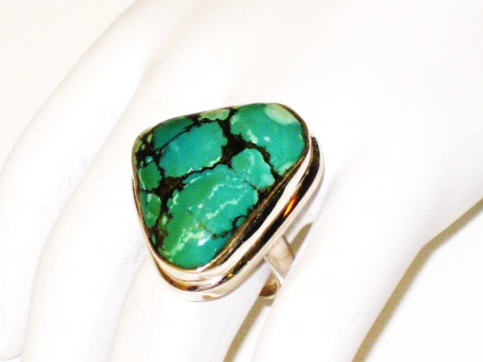 RG157       Turquoise Ring in Sterling Silver, Size 8