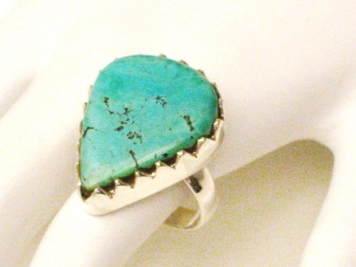 RG169       Turquoise Ring in Sterling Silver, Size 8