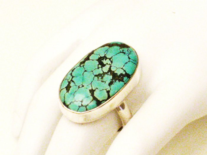 RG170       Turquoise Ring in Sterling Silver, Size 8