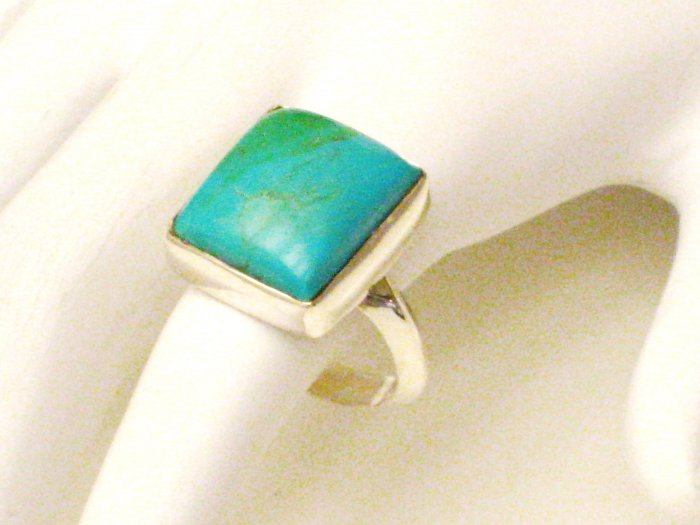 RG182       Turquoise Ring in Sterling Silver, Size 9