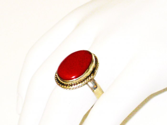 RG082       Coral Ring in Sterling Silver, Size 8