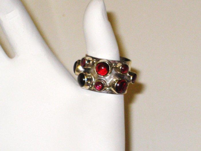 RG051       Garnet Ring in Sterling Silver, Size 6