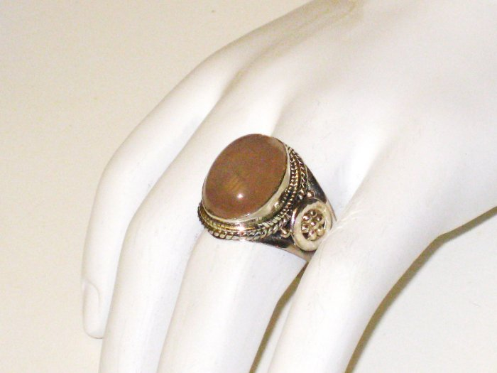 RG068       Rose Quartz Ring in Sterling Silver, Size 9